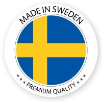 Modern vector Made in Sweden label isolated on white background, simple sticker with Swedish colors, premium quality stamp design, flag of Sweden